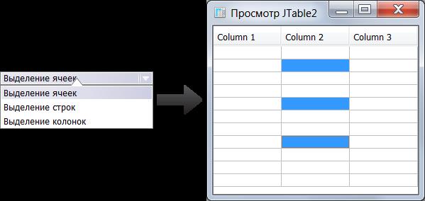 Выделение ячеек в таблице