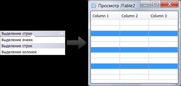 Выделение строк в таблице